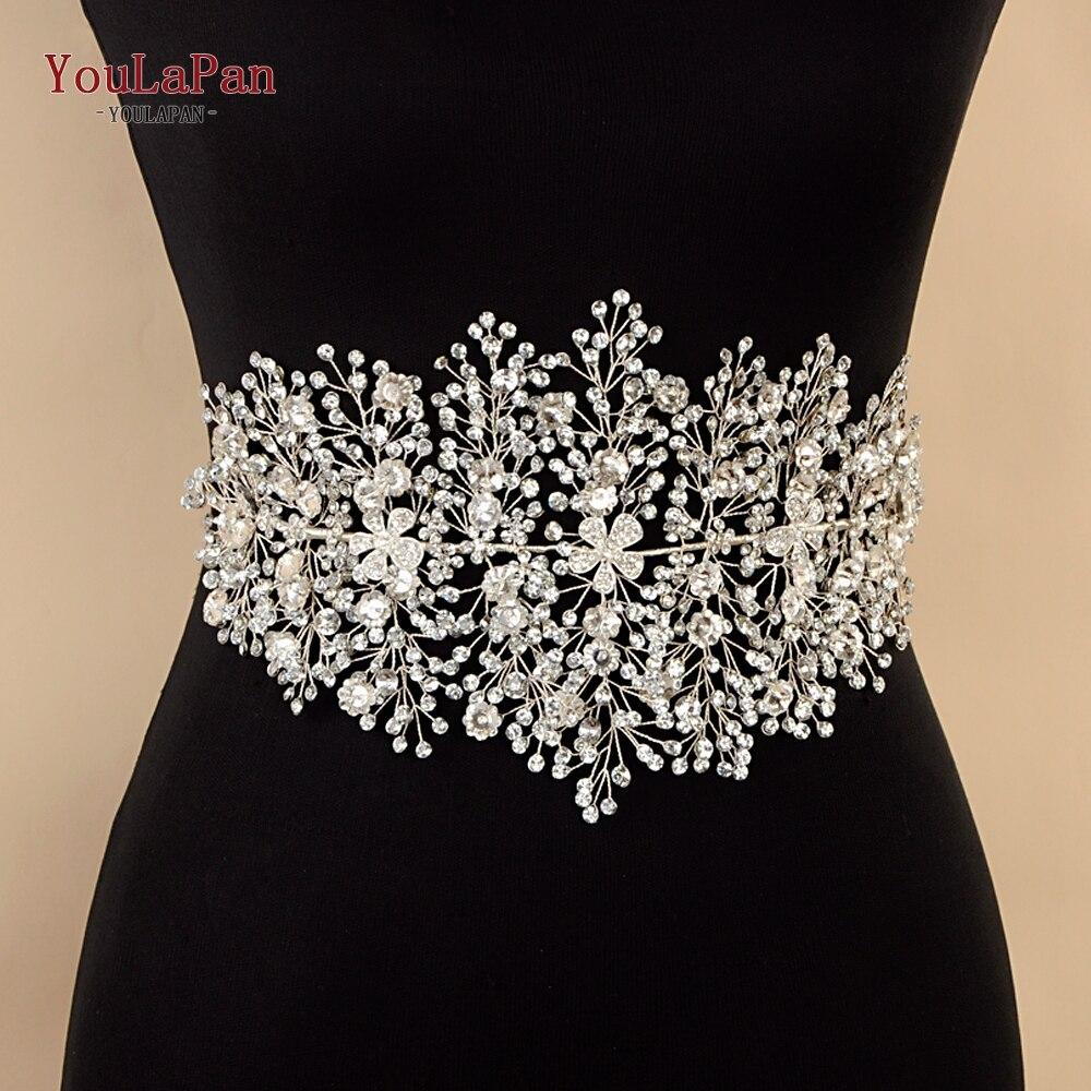 YouLaPan SH240 Wedding dress belt Rhinestone belt Silver Rhinestones Bridal Belt wedding flower belt for prom