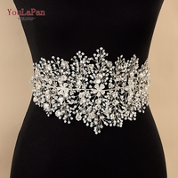 YouLaPan SH240 Wedding dress belt Rhinestone belt Silver Rhinestones Bridal Belt wedding flower belt for prom dress