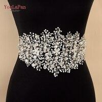 YouLaPan SH240 Wedding dress belt Rhinestone belt Silver Rhinestones Bridal Belt wedding flower belt for prom dress