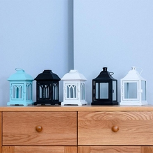 PINNY Modern Simplicity Iron Glass Candle Stand European Metal Holder Lantern Home Decoration Accessories Moroccan Lamp