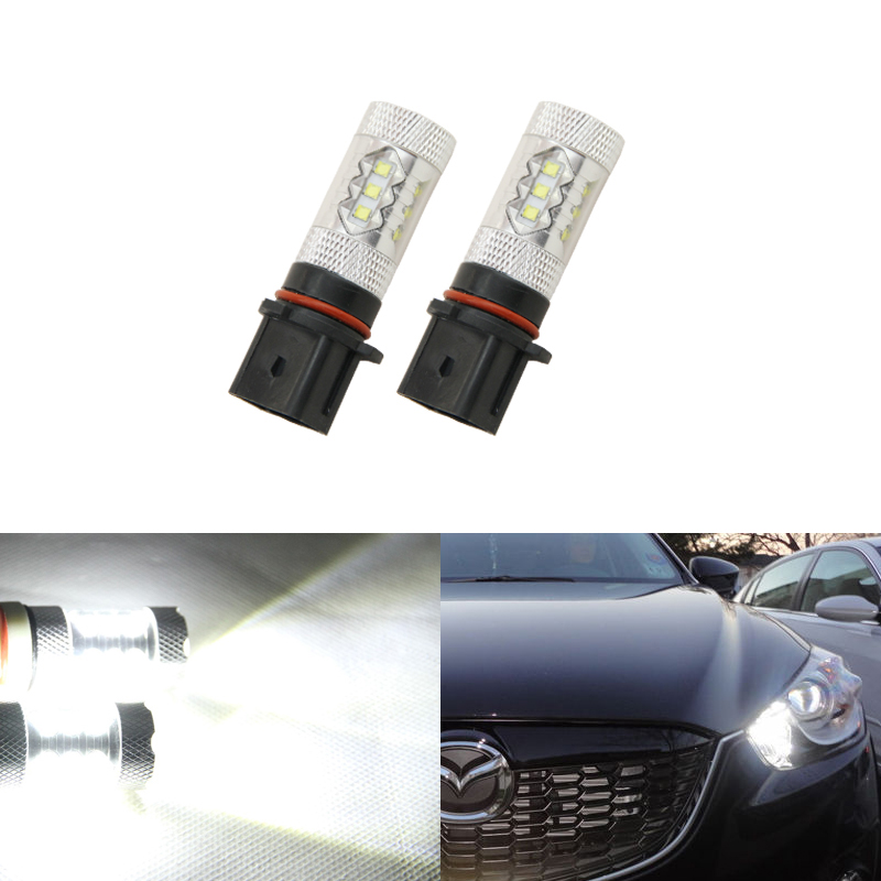 2x Xenon White Led Bulbs For Mazda CX-5 2013-2015 Daytime Running Lights DRL Replacement Driving Fog Lights Lamps Plug-N-Play