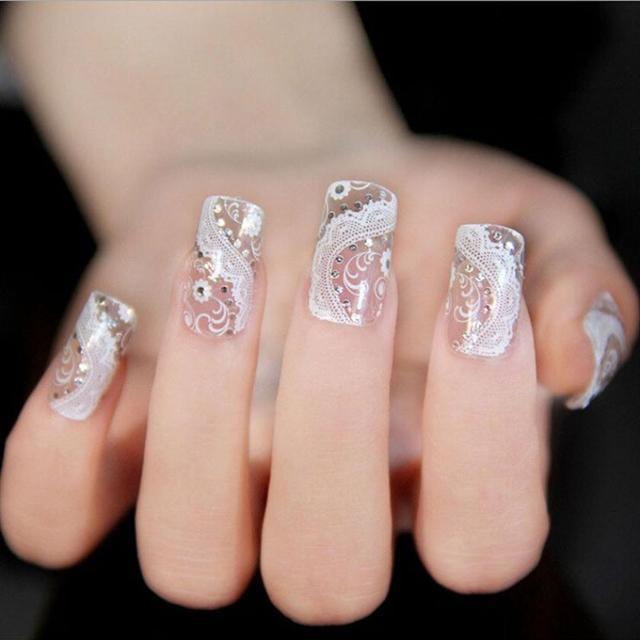 Als Picture Show Kleur Kant Diamant Bloem Stickers Nail Art Tips De
