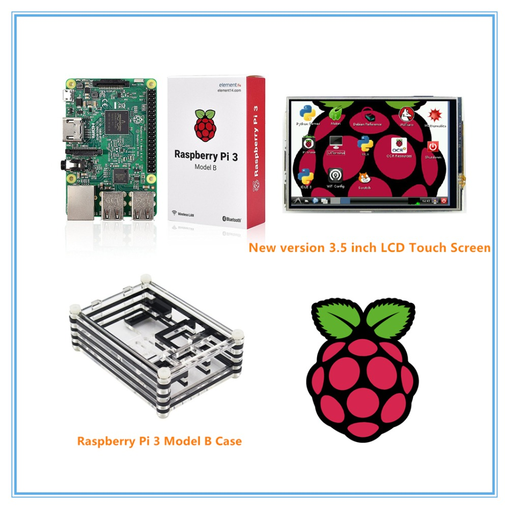 Raspberry Pi 3 Model B Board+ 3.5 Inch TFT LCD Touch Screen + Acrylic Case For Raspberry Pi 3 Kit 3 5 inch touch screen tft lcd 320 480 designed for raspberry pi rpi 2