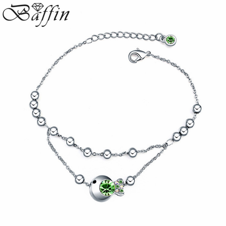Fashion multi layer chain Bracelet goldfish charm Bracelets for girls made with Austrian ELements Crystals