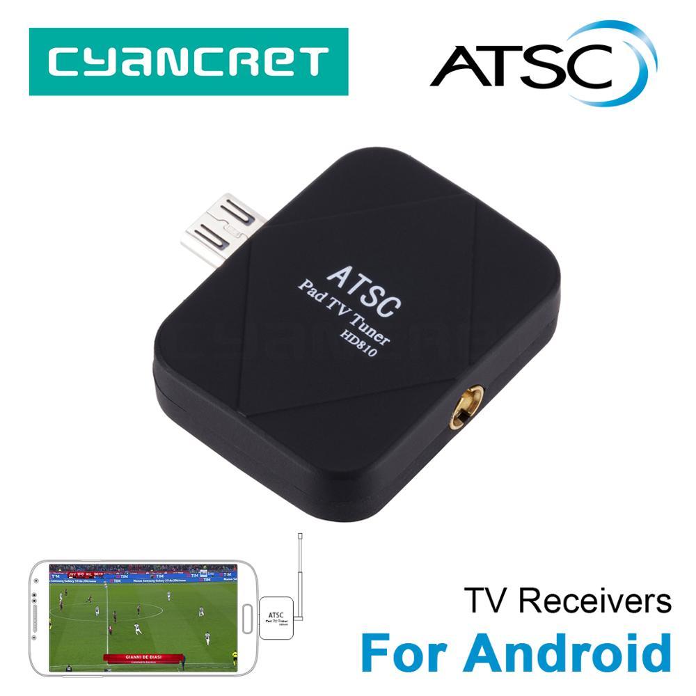 ATSC HD Digital Mini TV Tuner TV Receiver for Android Mobile Phone Pad Tablets HDTV TV Stick with Micro USB OTG Two Antenna