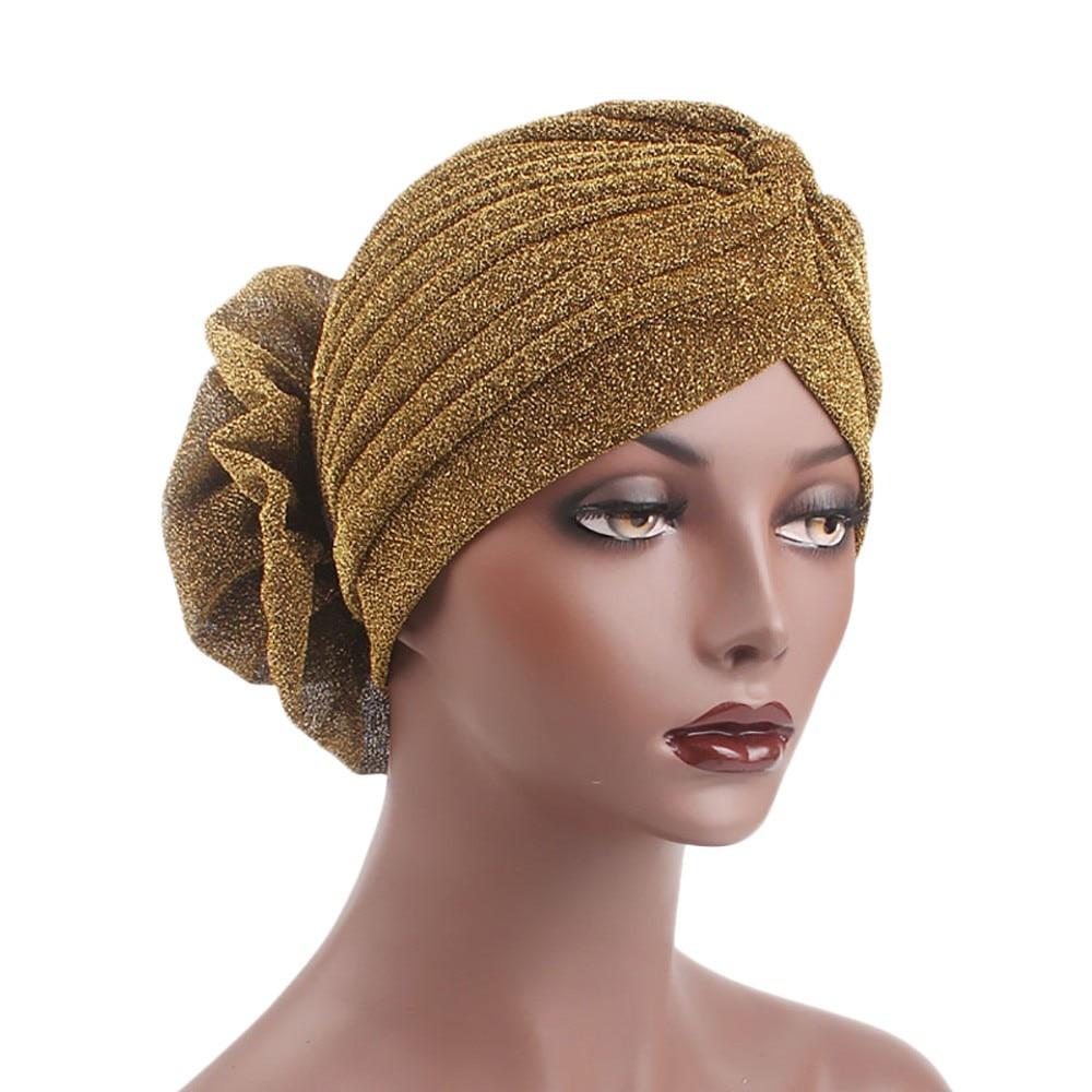 Women India Muslim Stretch Bright Thread Floral Turban Hat Head Scarf Wrap Cap