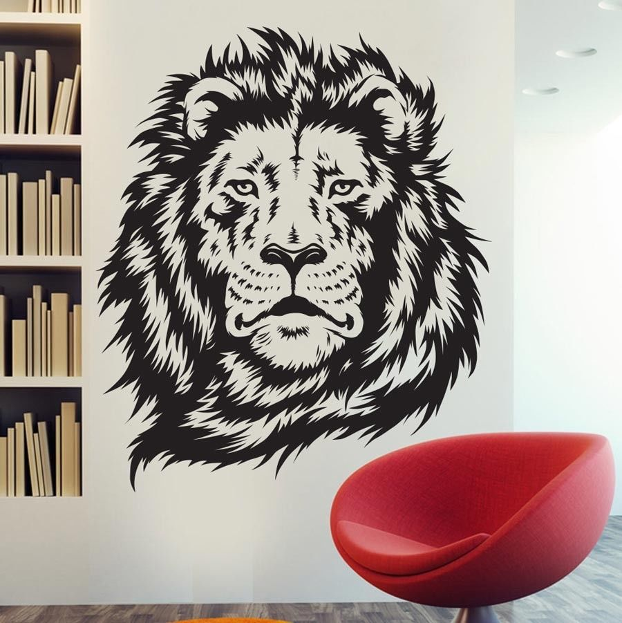 Nueva llegada Lion King Of The Jungle Wall Sticker Art Room Decor Sticker Vinyl Mural Animal Lion Decals ES-60