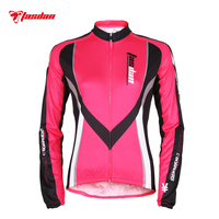 Tasdan Anti UV Cycling Jerseys Summer Outdoor Sportswear Bike Jersey Cycling Clothing Bicycle Long Sleeves Rose and Blue Color