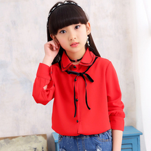 2018 Brand Autumn Spring Girls Long Sleeve Princess Blouse Kid Turn Down Collar School Cute Fashion Blouses Kid Clothes Hot Sale girls plaid blouse 2019 spring autumn turn down collar teenager shirts cotton shirts casual clothes child kids long sleeve 4 13t