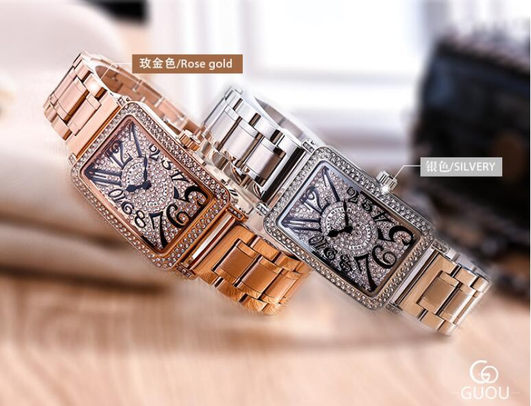 Top Luxury Brand GUOU Watch Women Fashion Rose Gold Ladies Watch Stainless steel Diamond Women Watches Clock relogio feminino все цены