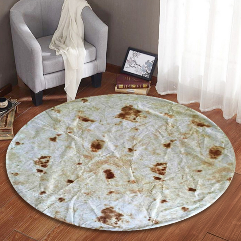 1pc Outdoor Camping Round Picnic Mat Bbq Carpet Mexico Burrito Flannel Sponge High Quality Mat New Type