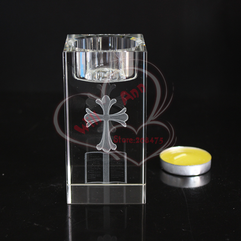European Antique Clear Crystal Candle Holder Laser Engraving Cross Tealight Holder for Home Decoration Religious Craft