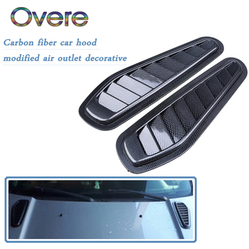 Overe 1Set Carbon Fiber Car Air Flow Vent Intake Hood Scoop Vent Bonnet Cover For BMW E60 E36 E46 E90 E39 E30 F30 F10 F20 X5 E53 image