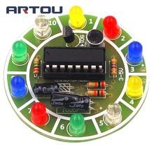 Fun 4017 Colorful Voice-activated Rotating LED Lights Circuit Board Production DIY Kit Elec