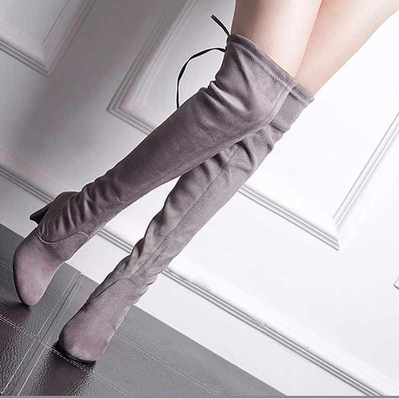 New Women Boot Fashion Suede Women Over The Knee Boot Lace Up Sexy High Heels Shoes Woman Slim Thigh High boot Women's Boots