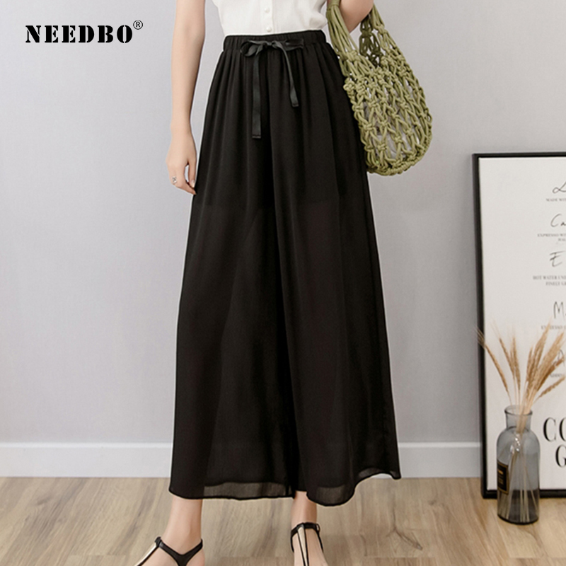 NEEDBO Wide Leg Pants Women High Waist Ankle-Length Plus Size Chiffon Pant Elastic OL Trousers
