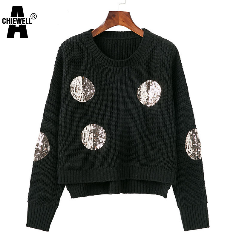 Femme Achiewell Black Pull Front Autumn Knitting Basic Black Sweater Casual Loose Women Turtleneck gray Sequins Round Pullovers 8rq8z6xnO