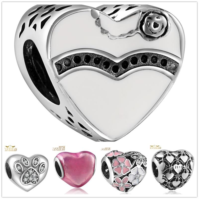 Shiny Love jewelry making Handmade flowers diy beads Fit  pulseira pandora bracelet charms silver 925 original berloque