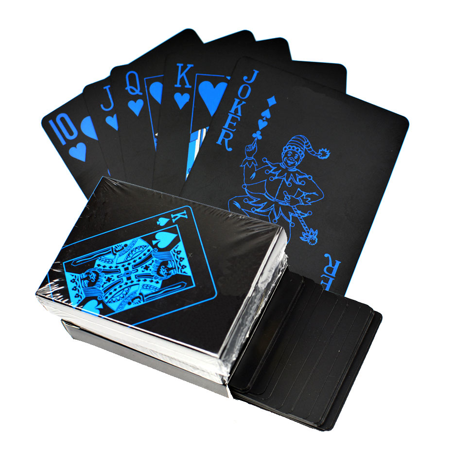 Tricks-Tool Poker-Card Playing-Cards-Set Gift Plastic Magic Black-Color Waterproof Golden
