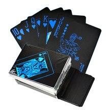 Золотые игральные карты набор Водонепроницаемый пластик черный цвет покер карты классические фокусы инструмент Покер игры подарок покер
