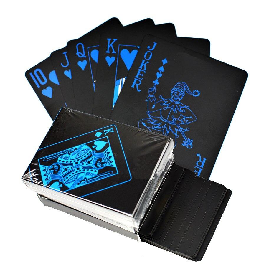 Conjunto de ouro Jogando Cartas de Poker de Plástico À Prova D' Água Cor Preta Ferramenta de Cartão de Truques de Mágica Clássicos Jogos de Poker Presente de Poker