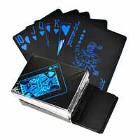 Golden Playing Cards Set Waterproof Plastic Black Color Poker Card Classic Magic Tricks Tool Poker Games Gift Poker