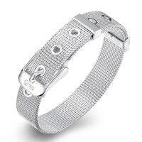 Trendy Mesh Bracelet For Women Men Plated Silver Bracelet Snap Button 20cm New Fashion 925 Jewelry