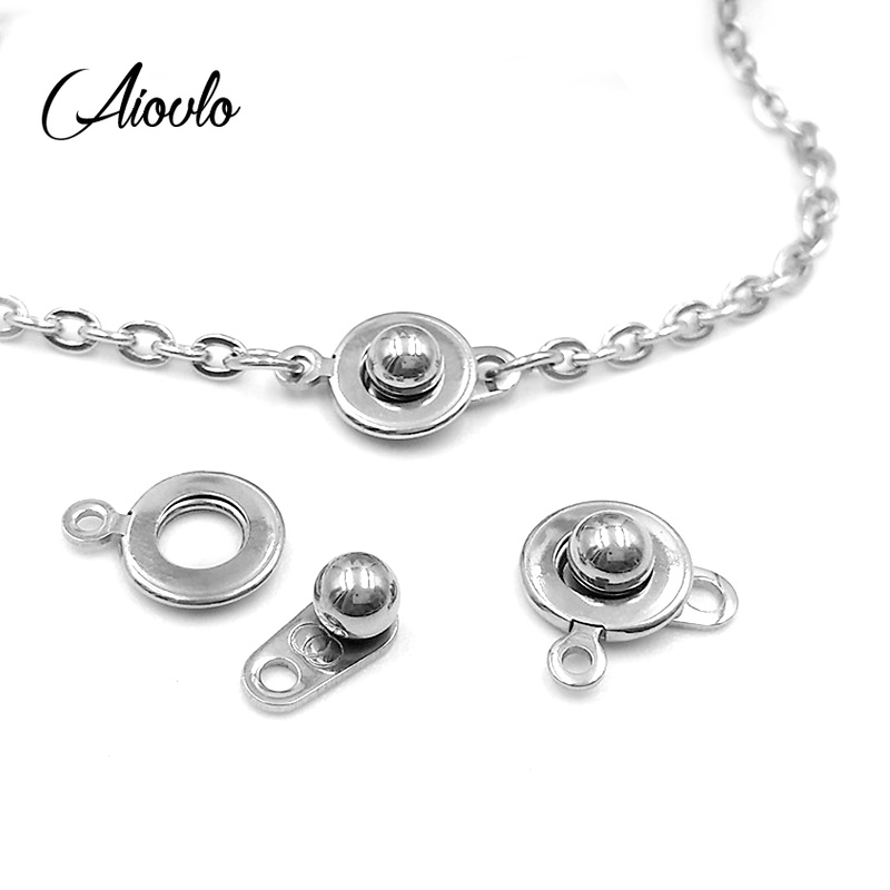 5pcs/lot Stainless Steel Round Button Bracelet Connectors For DIY Necklace Bracelet Jewelry Making Handmade Accessories