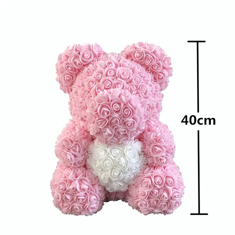 Image 2 - DropShipping 40cm Rose Bear Heart  Artificial Flower Rose Teddy Bear For Women Valentine's Wedding Birthday Christmas Gift-in Artificial & Dried Flowers from Home & Garden