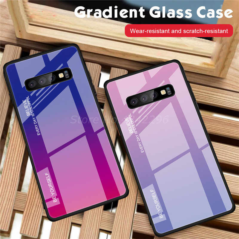 Красочные градиент закаленное Стекло чехол для samsung Galaxy S10 S8 S9 плюс A30 A50 M20 M10 A5 2017 A6 A8 J4 J6 плюс A9 J8 A7 2018