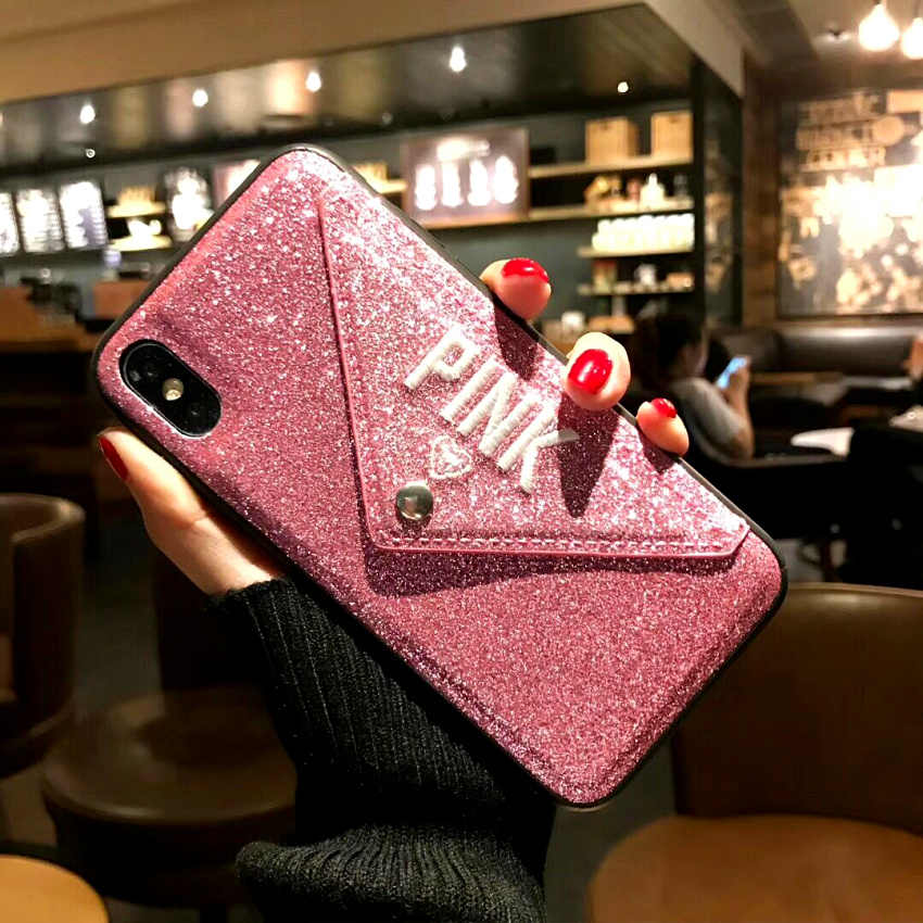 905bbd3044e0 PINK Luxury Glitter envelope Love Heart embroidery Cases For iphone X 7 8 Plus  6 6S