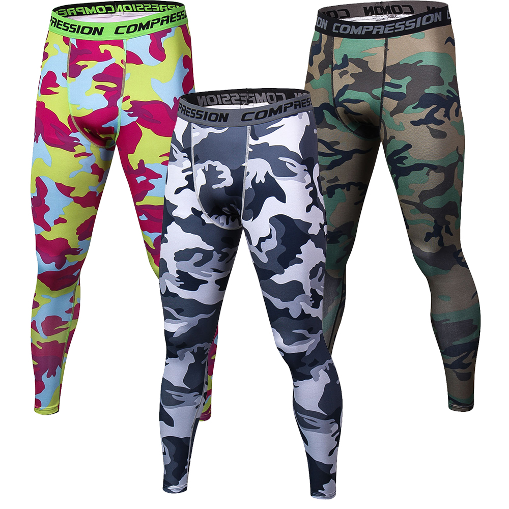 Mens 3D printing Compression Pants New Crossfit Tights Men Bodybuilding Pants Trousers Camouflage Joggers Tights Fitness Pants
