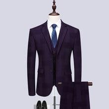 2019 new mens fashion boutique fancy check suit groom wedding dress three-piece (coat + vest trousers)
