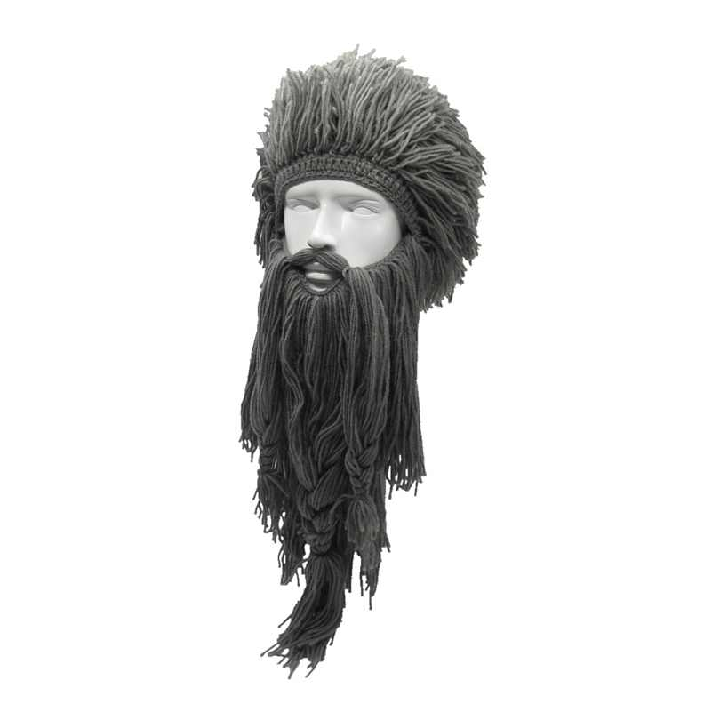 Creative Barbarian Beanie Hats Halloween Cosplay Costume Unisex Knitted Wig Viking Beard Hat Winter Warm Funny Crazy Mask Cap