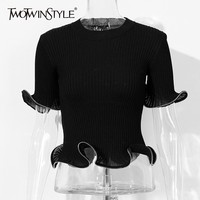 TWOTWINSTYLE Summer Black Knitted T Shirt For Women O Neck Flare Sleeve Slim Knitting Tops Female Fashion Clothes 2019 Korean