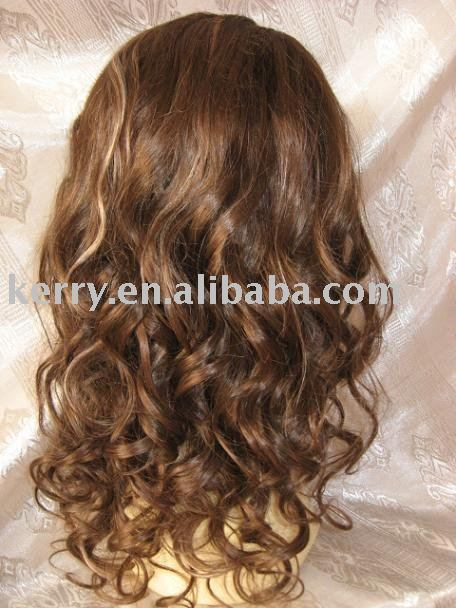 wholesale indian remy hair 16inch 4#/33# mixed color 27# highlight loose curl full lace wig