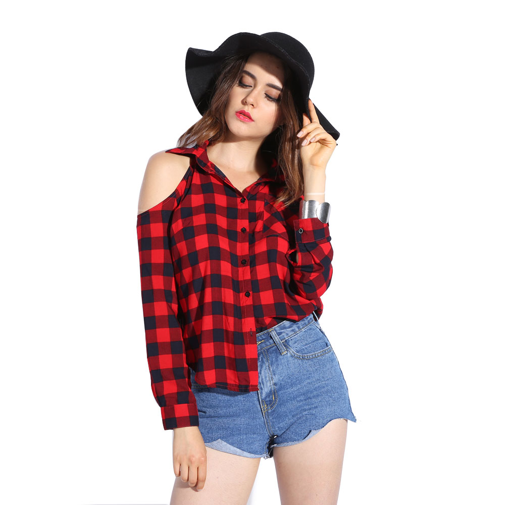 Plaid blouse cold shoulder women sexy top checked shirts red checkered chemise femme long sleeve - Top sexy femme ...