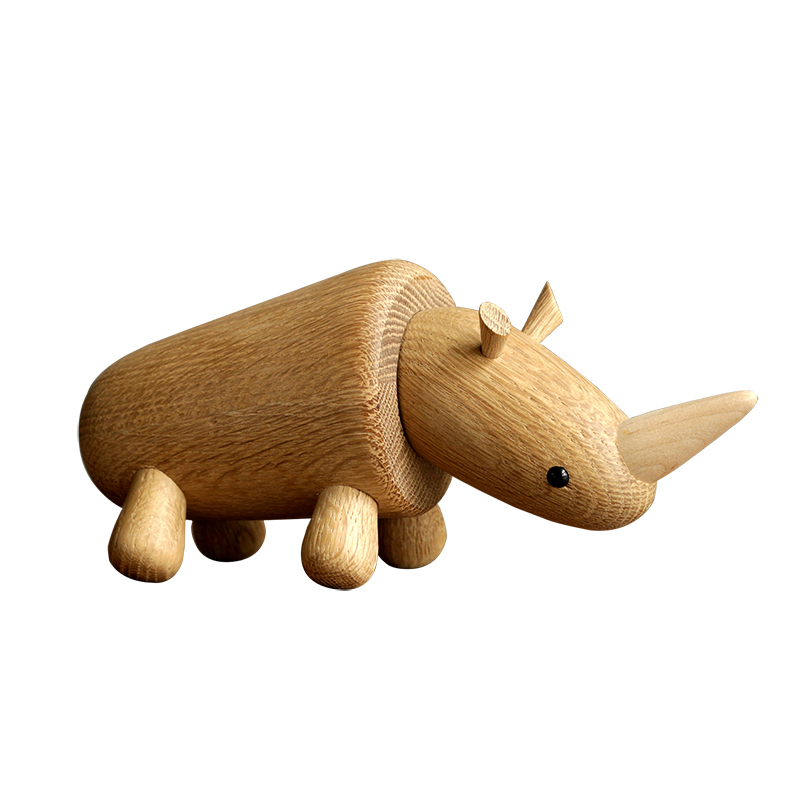 Nordique danois créatif bois rhinocéros marionnette salon doux décoration en bois noël artisanat cadeau livraison gratuite