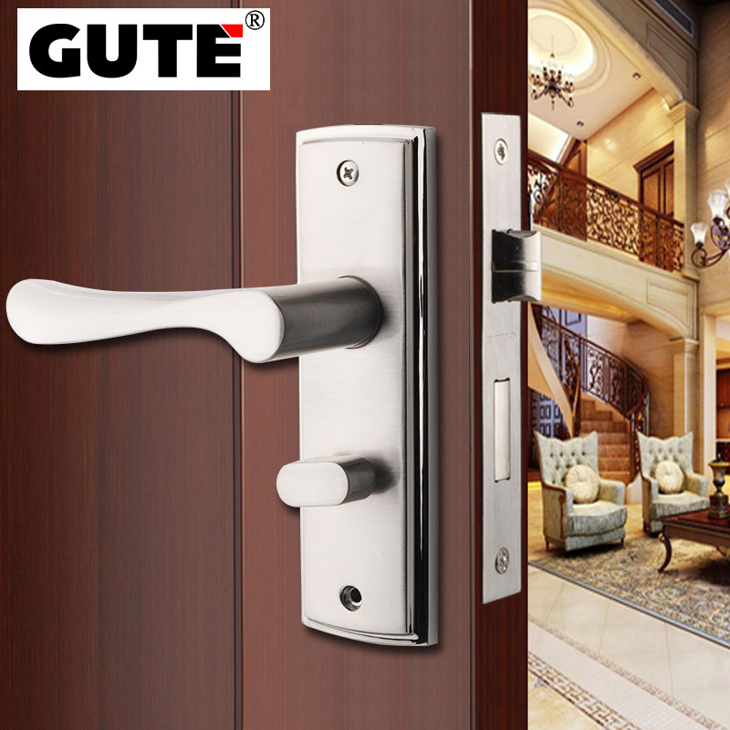 GUTE Double Latch Indoor Door Lock Zinc Alloy Brushed Finish Mute Barb Design Stainless Steel Handle Suitable for Various Doors stylish stainless steel zinc alloy letter opener knife