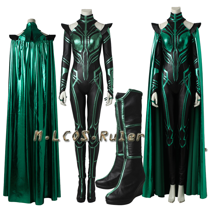 Thor 3 Ragnarok Trailer Hela Cosplay Costume Outfit Jumpsuit Cape With Boots Adult Custom Made All Size Halloween