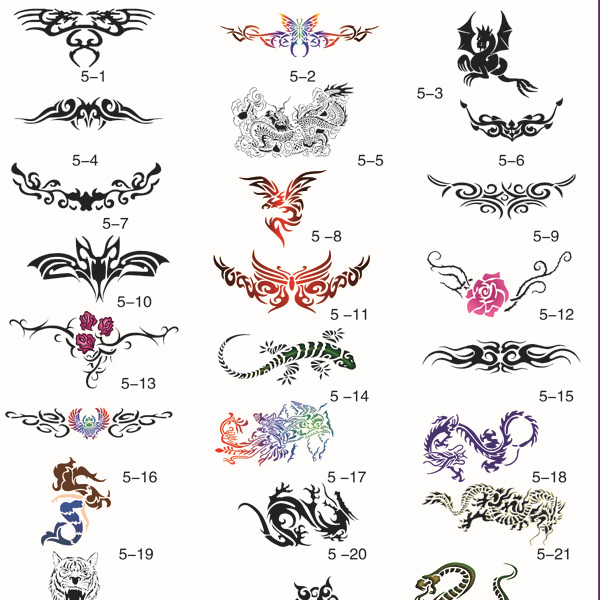[Hot Sale!] Large Pictures Airbrush Tattoo Stencil Template BOOK 5, 30 Different Designs, Self Adhesive, Reusable.