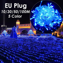EU Plug 10M to 100M  LED Christmas Decoration Lighting Outdoor Fairy String Light for Wedding New Year Xmas Navidad Garland
