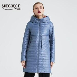 Image 2 - MIEGOFCE 2020 Frühling und Herbst frauen Mit Kapuze Jacke frauen Modische Winddicht Mantel Mit Große Taschen Lange Baumwolle Parka