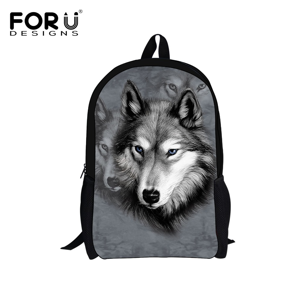 FORUDESIGNS Children's 3D Animal Wolf Backpack,Cool Pet Dog Husky Printing School Backpacks Teenagers Boys,Kid Tiger Bagpack - Stylish Apparel Store store