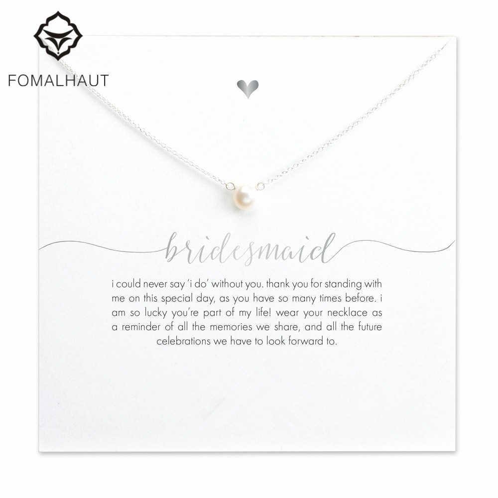 FOMALHAUT bridesmaid small imitation pearl 45cm Pendant Necklaces Clavicle Chains necklace Fashion Women Jewelry