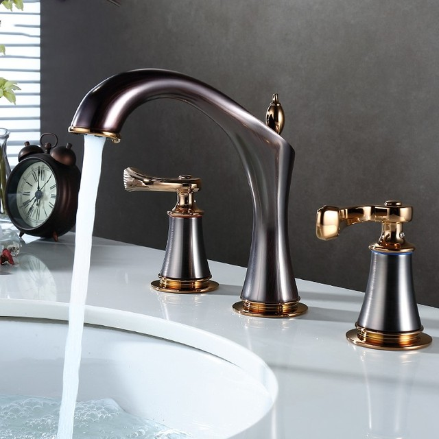 European Luxury brown gold brass Double handle three holes Widespread  Bathroom Sink Faucet high quality Basin