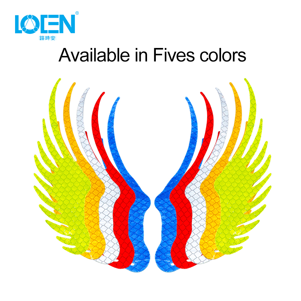 Safety Warning Reflective Car Sticker Angel Wings Reflective Warning Sign Funny Bike Decal Sticker Motorbike Reflective Sticker in Car Stickers from Automobiles Motorcycles