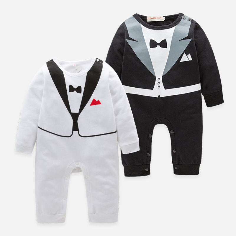 Gentleman 2018 Newborn Boy Tiny Cottons Long Sleeve Rompers Bebes Boys Romper For Baby Onesie Baby Knitted Clothes Jumpsuit 2Yrs