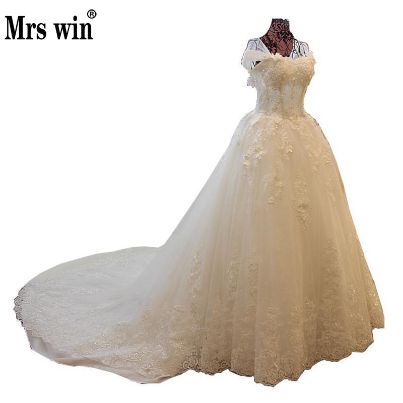 2018 Spring Sweet Lace Flower White Wedding Gown Luxury A-line Beautiful Sweep Train Formal Princess New Bride Dress C