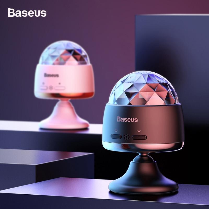 Baseus Mini Car Phone Holder Magic Ball Light For Car 3W Magnetic Base USB Mini Atmosphere Lamp Sound Control Effect Lights